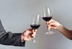 Hands holding wine glasses Stock Images