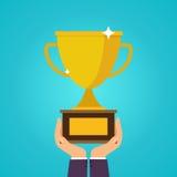 Hands holding winner's cups. Symbol of success, winning, champio. Nship. Flat design style modern vector illustration concept Stock Image