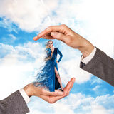 Hands holding woman Royalty Free Stock Images