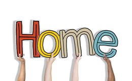 Hands Holding the Word Home Concept Royalty Free Stock Image