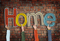 Hands Holding Word Home Concepts Stock Photos