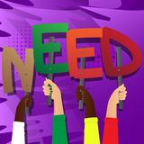 Hands holding the word Need. vector illustration