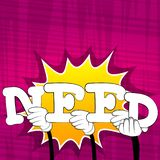 Hands holding the word Need. royalty free illustration