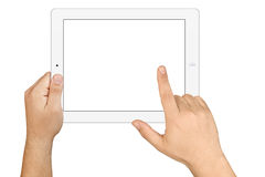 Hands Holding Working Blank Screen Tablet Pc. Male hands working with white electronic tablet pc in landscape orientation with blank white screen displayed Stock Photos