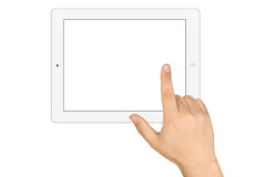 Hands Holding Working Blank Screen Tablet Pc Stock Image