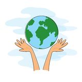 Hands holding the world. Cartoon  of two hands holding the world Stock Photos