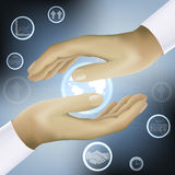 Hands holding world business concept vector Stock Photography