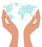Hands holding the world. Royalty Free Stock Photo