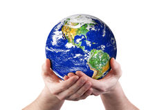 Hands holding world environment. Hands holding world globe. Isolated on white Royalty Free Stock Photos