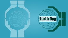 Hands holding the world. Earth day concept vector illustration