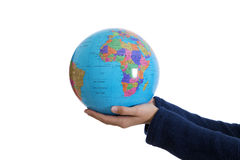 Hands holding the world. Isolated on white ball Royalty Free Stock Image