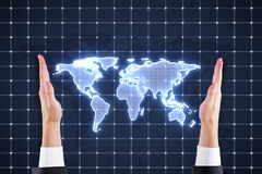 Hands holding world map royalty free stock images