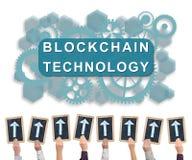 Blockchain technology concept on a whiteboard Stock Photo