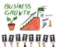 Business growth concept on a whiteboard. Hands holding writing slates with arrows pointing on business growth concept Stock Photo