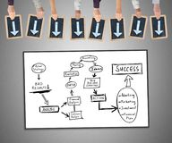 Business strategy improvement concept on a whiteboard. Hands holding writing slates with arrows pointing on business strategy improvement concept Stock Photo