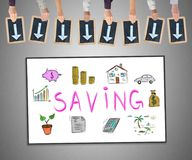 Saving concept on a whiteboard. Hands holding writing slates with arrows pointing on saving concept Royalty Free Stock Photo