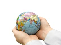 Hands holdings  globe Stock Image