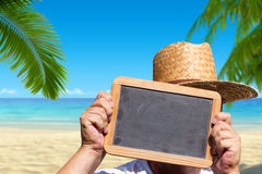 Free Hands Holds A Slate Blackboard With Copy Space Royalty Free Stock Photos - 43971088