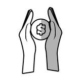 Hands holds coin money shadow Stock Image