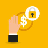 Hands holds coins safety icon. Vector illustration eps 10 Stock Photo