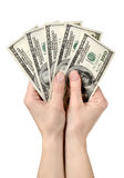 Hands holds hundreds of dollars Royalty Free Stock Photo
