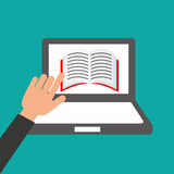 Hands holds laptop-book online education Stock Images