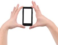Hands holds smartphone. Royalty Free Stock Photo