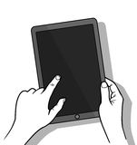 Hands holing tablet computer with blank screen. Using digital tablet, flat design concept. Vector illustration Royalty Free Stock Images