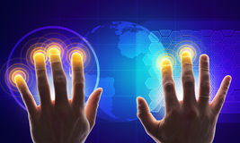 Hands with holographic screen Royalty Free Stock Images