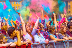 Holy color festive in Saint-Petersburg. Indian Holy color festive in Saint-Petersburg Stock Photos