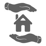 hands with home icon - protecting house illustration Royalty Free Stock Images