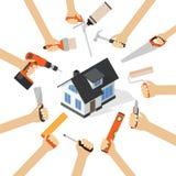 Hands with home repair diy renovation housework tools Stock Photos