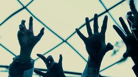 Hands of hostages stretching up hopelessly, gray sky seen through prison bar