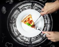 Hands with Hot pizza. With cheese,meat,  fresh basil on background Stock Image