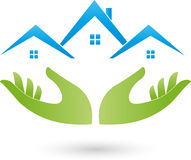 Hands and houses, roofs, real estate logo. Two hands and three houses, roofs, real estate logo Royalty Free Stock Images