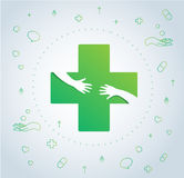 Hands hug in hospital icon design, healthcare and medical logo symbol vector. EPS10 stock illustration