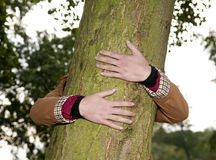 Hands hugging a tree Stock Images