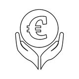 Hands human with euro. Illustration design Royalty Free Stock Photography