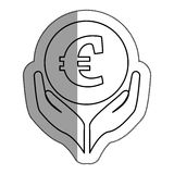 Hands human with euro. Illustration design Stock Photos