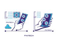 Hands human with fintech icons. Vector illustration design Royalty Free Stock Photography