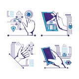 Hands human with fintech icons. Vector illustration design Stock Image