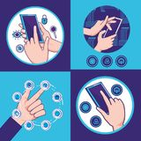 Hands human with fintech icons. Vector illustration design Royalty Free Stock Images