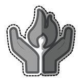 Hands human with fire flame isolated icon. Vector illustration design Royalty Free Stock Image