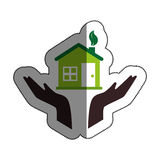 hands human with home ecology isolated icon Stock Image
