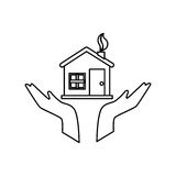 hands human with home ecology isolated icon Royalty Free Stock Image