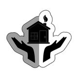 hands human with home ecology isolated icon Stock Photo