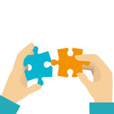 Hands human with puzzle game pieces isolated icon Royalty Free Stock Image