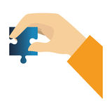 Hands human with puzzle game pieces isolated icon Stock Image
