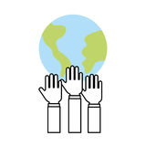 Hands human with world planet earth icon Royalty Free Stock Photos
