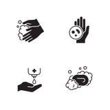 Hands hygiene icons set. Black on a white background vector illustration